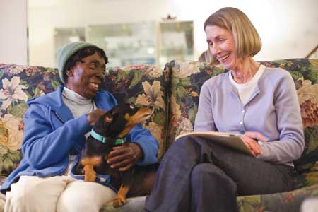 """Druscilla Bland (left) is learning to """"beat the blues"""" with the help of Barbara Davis, an Interventionist at Center in the Park, a Philadelphia community center."""