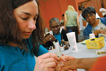 During Spa Day, Hopkins nursing students help the elderly