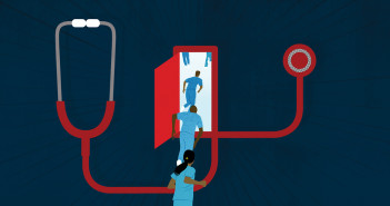 Illustration of Nurses running towards door