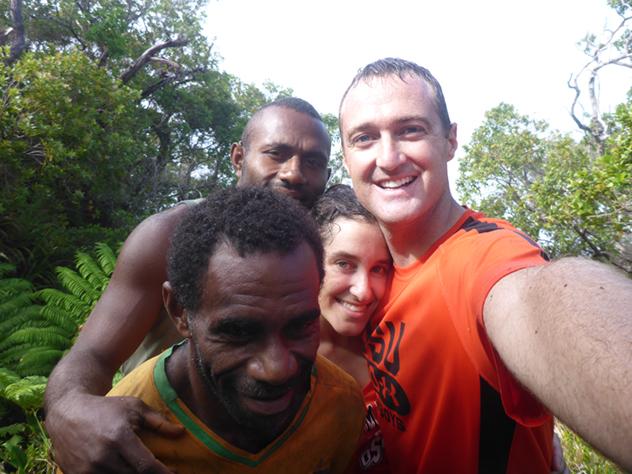 Sean and Lindsay Corrigan, '09, with friends in Vanuatu.