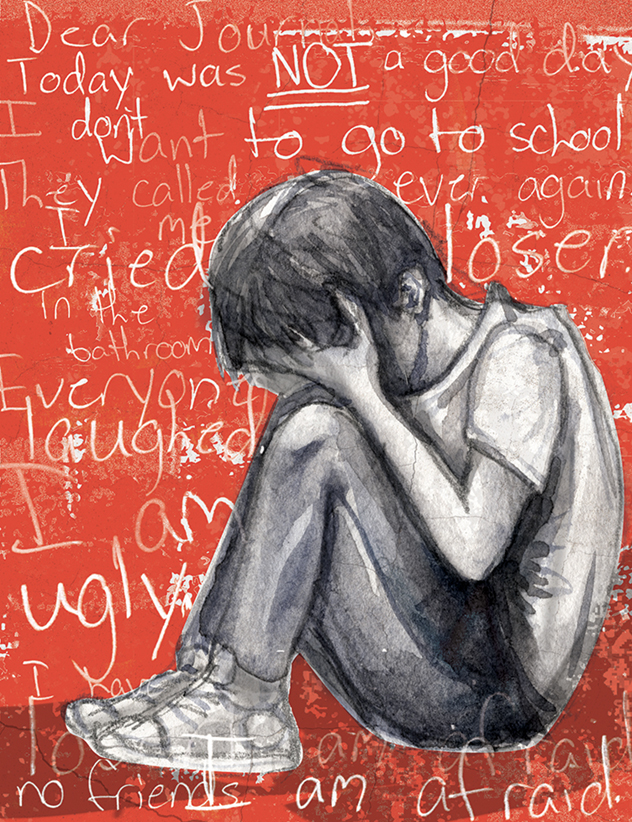 Child crying because of bullying – illustration by Lindsay Bolin Lowery
