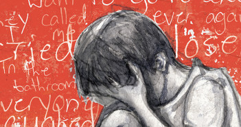 Child crying because of bullying –illustration by Lindsay Bolin Lowery