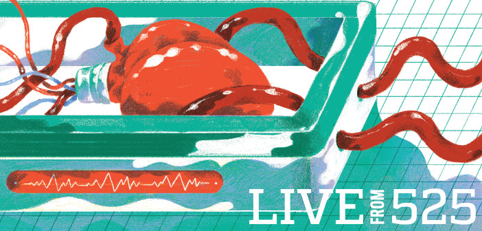 Heart transplant illustration by Leonard Peng
